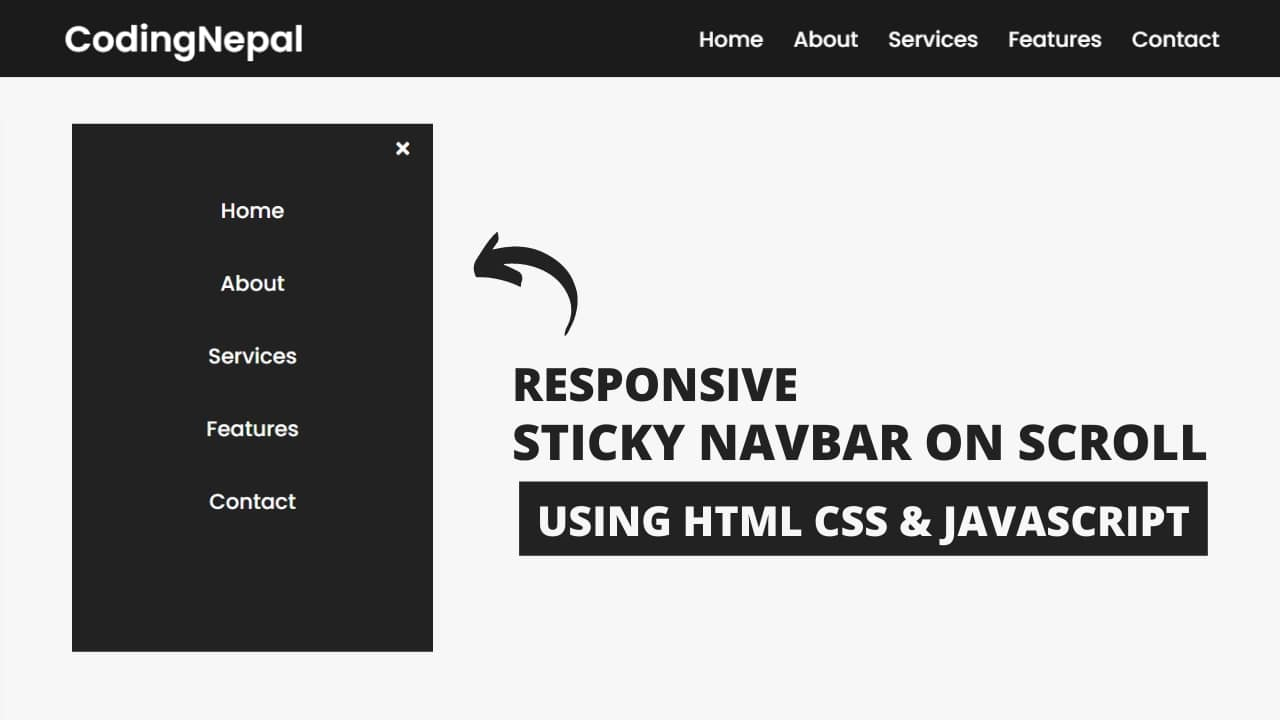 Responsive Sticky Navigation Bar using HTML CSS & JavaScript
