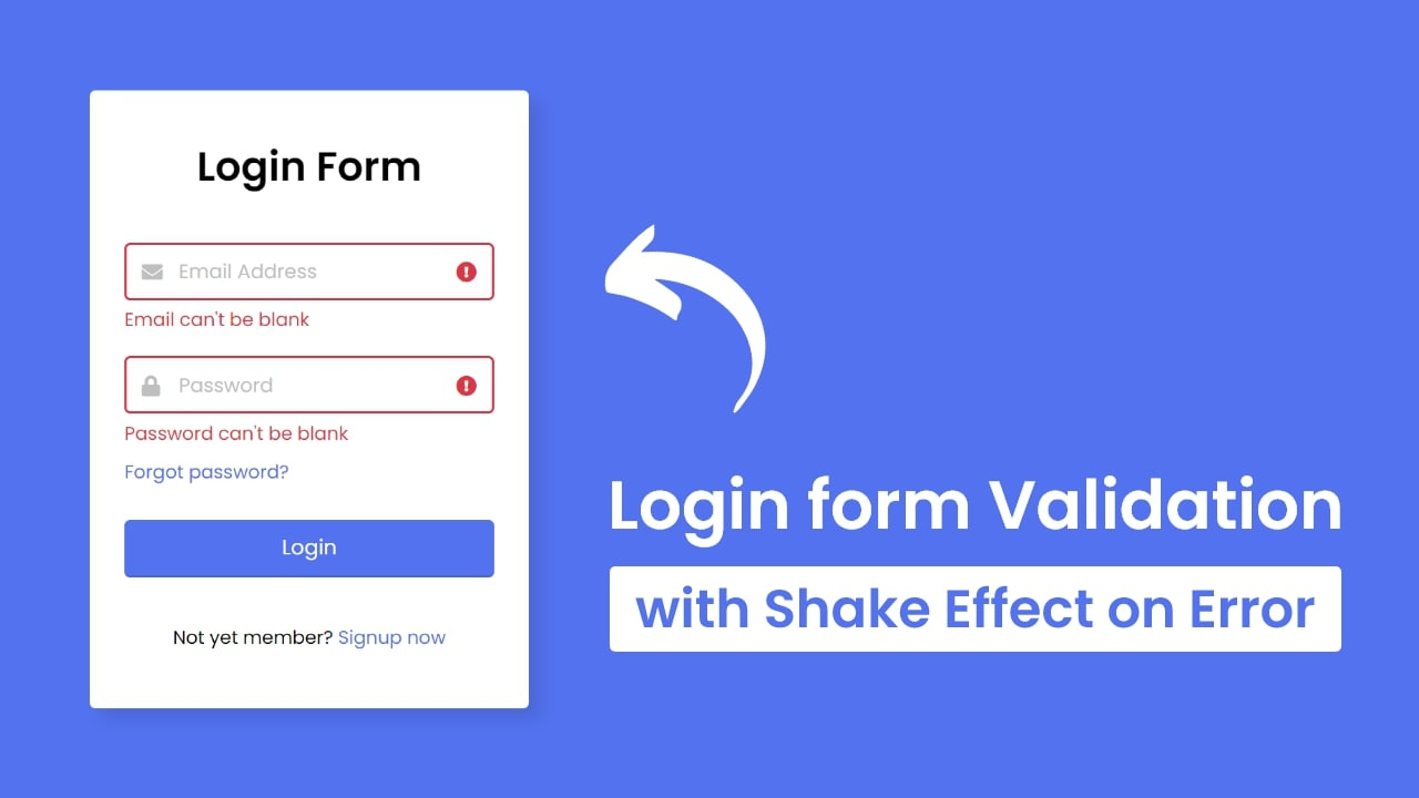 Login Form Validation in HTML with Shake Effect