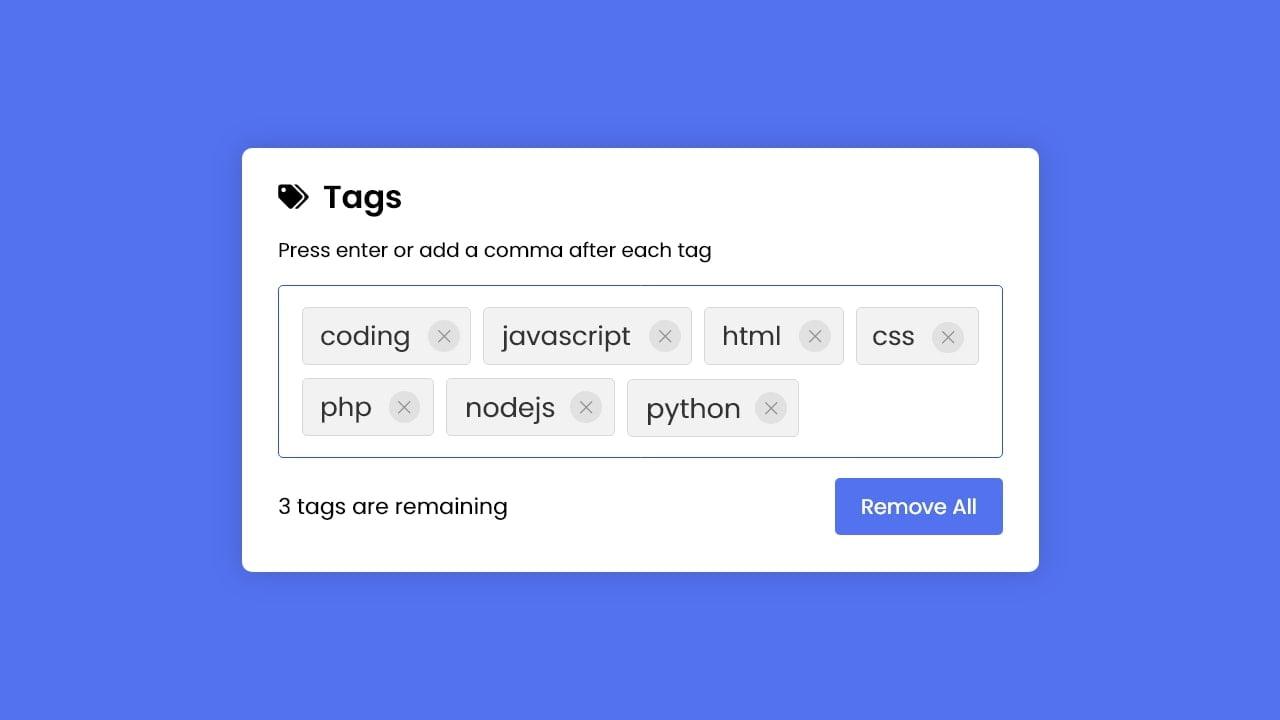 Add Tags Input Box in HTML CSS & JavaScript