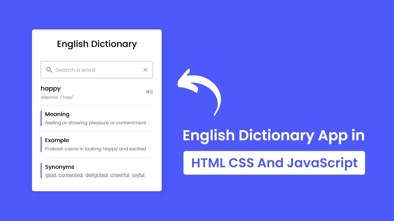 Build A Dictionary App in HTML CSS & JavaScript